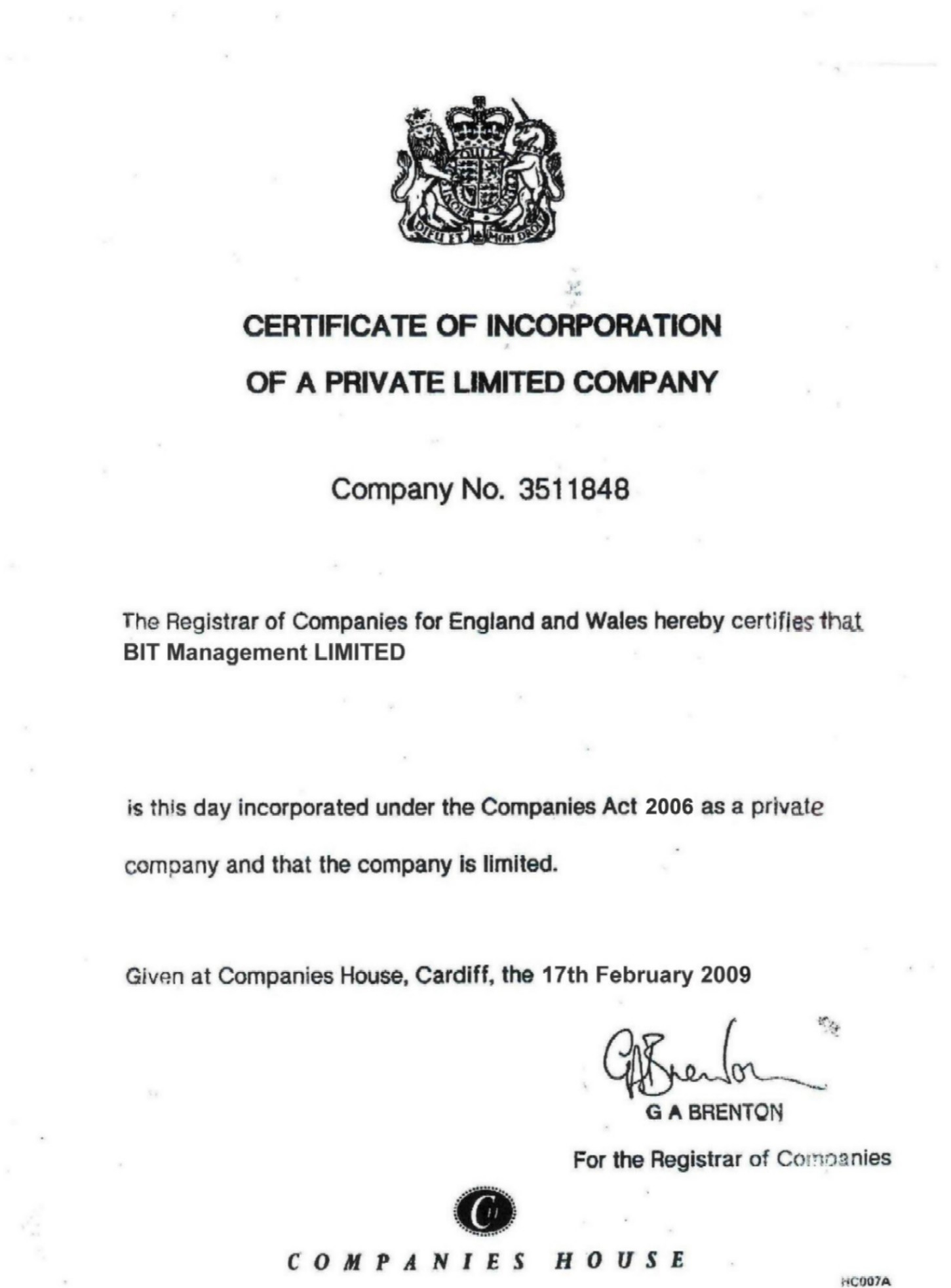 Certificate of Incorporation 17 Feb 2009
